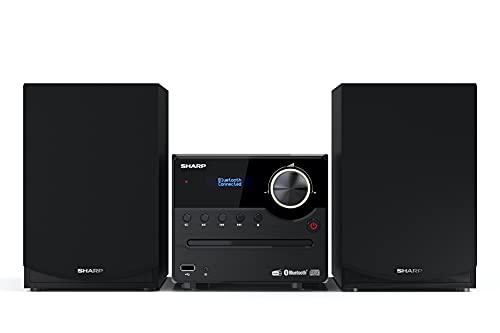SHARP XL-B517D(BK) Micro Hi-Fi Sound System Stereo with DAB Radio, DAB+, FM, Bluetooth, CD-MP3, USB Playback, Wooden Speakers, 45W – Black