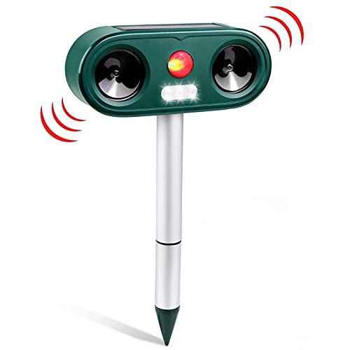 Cat Repellent Ultrasonic Waterproof with 5 Modes, Solar USB Powered, Animal Repeller Cat Outdoor with Ground Stake, Animal Deterrents Scarer for Cat, Birds, Dog, Foxes
