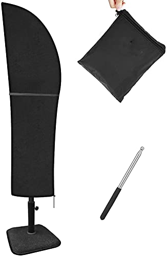 Tvird Parasol Cover with Contraction Rod, Cantilever Parasol Cover Heavy Duty 420D Oxford Fabric Large Garden Umbrella Cover Waterproof, Windproof, Rip Proof Banana Parasol Cover 265x30x70/45 cm