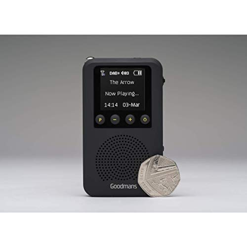 GOODMANS Pocket Radio, DAB/DAB+/FM, Integrated Speaker, LCD Display, 1000mAh13 hrs Rechargeable Battery