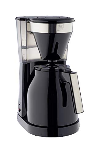 Melitta Filter Coffee Machine with Insulated Jug, Easy Top Therm II Model, 1023-08, Black/Stainless Steel, 6762890