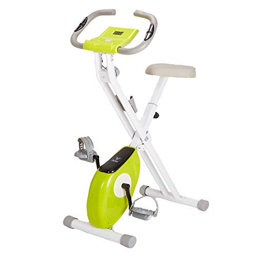 Exercise Bike Fitness Bicycle Foldable Indoor Trainer - 8 Magnetic Resistance Levels Pulse Sensor, Phone Holder, 100kg Max Weight- LCD Display (Green)