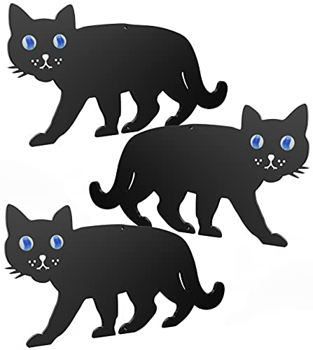 Medipaq BLACK METAL GARDEN CAT SCARER WITH MARBLE EYES - CAT DETERRENT – CAT REPELLER – Cat Repellant Garden – Cat Repellent (3x Scare Cat)