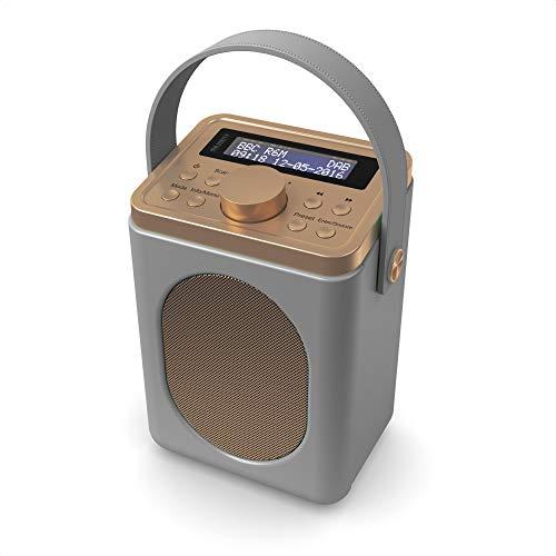 Majority Little Shelford - DAB/DAB+ Digital & FM Radio - Portable Wireless - Bluetooth - Stereo Sound - Dual Alarm Clock - Leather Effect Finish - Mains and Battery Powered (Grey)