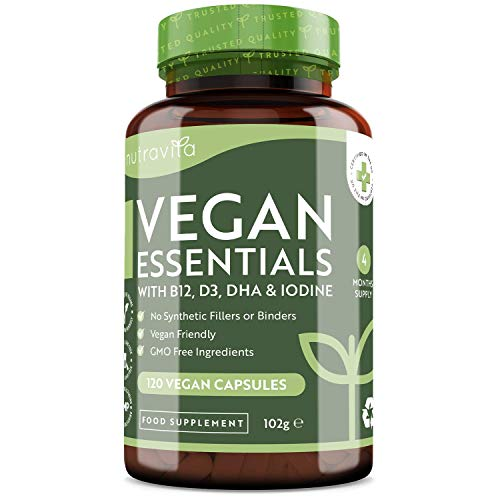 Vegan Essential Mix - Vegan Multivitamins & Minerals to Support a Plant Based Diet - 4 Month Supply of High Strength Vitamin B12, Vitamin D3, DHA, Iodine, Iron & Zinc - Made in The UK by Nutravita