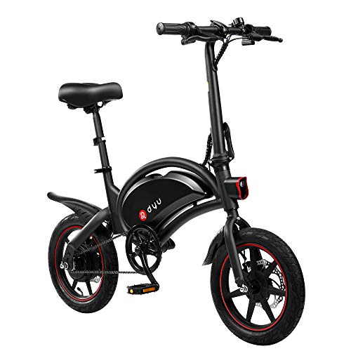 AmazeFan DYU D3F Folding Electric Bike, Smart Mountain Bike for Adults, 240W Aluminum Alloy Bicycle Removable 36V/6Ah Lithium-Ion Battery with 3 Riding Modes (Black)