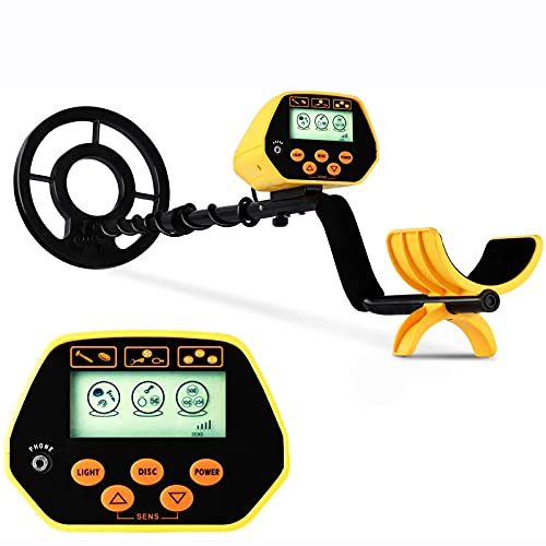 sakobs Metal Detector, High Accuracy Adjustable Waterproof Metal Detectors for Adults & Kids with LCD Display & LED Light, Discrimination & All Metal Mode 8.6 Inch Search Coil