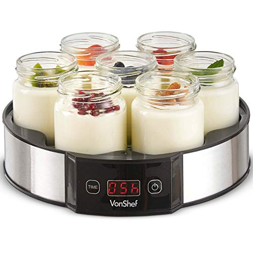 VonShef Digital Yoghurt Maker with 7 Jars – Electric, Compact, Stainless Steel Machine with LED Display & Timer, 180ml Glass Containers / Yoghurt Pots - For Making Fresh, Healthy Homemade Desserts