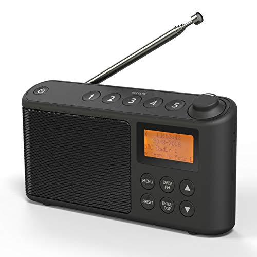 DAB/DAB+ & FM Radio, Mains and Battery Powered Portable DAB Radios Rechargeable Digital Radio with USB Charging for 15 Hours Playback (Black)