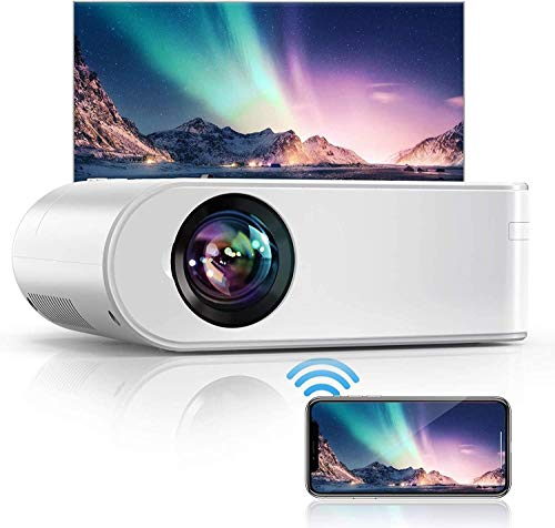 YABER WiFi Projector Mini Portable Projector 6500 Lumens 1080P Full HD Projector[Projector Screen Include] 236' Home Theater Compatible with PC/smartphone/tablet/PS3/PS4/TV Stick/DVD player etc.