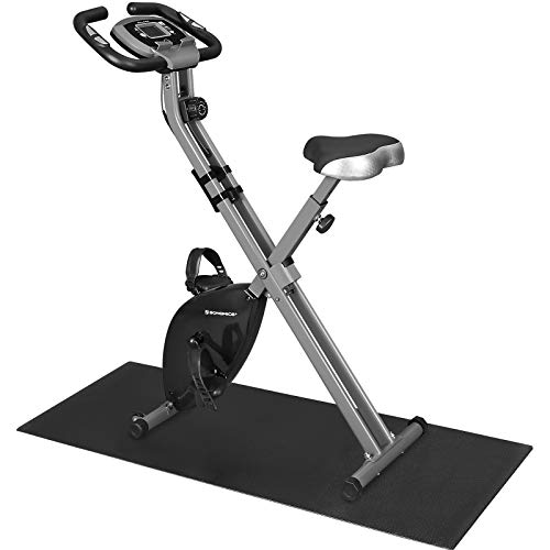 SONGMICS Exercise Bike, Fitness Bicycle, Foldable Indoor Trainer, 8 Magnetic Resistance Levels, with Floor Mat, Pulse Sensor, Phone Holder, 100 kg Max. Weight, Black SXB11BK