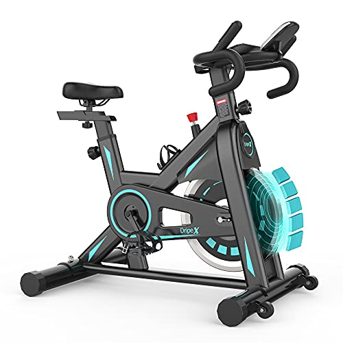 Dripex Magnetic Resistance Exercise Bike for Home Gym Training (2021 New Version), Indoor Cycling Bike Stationary, Heavy Duty Flywheel, LCD Monitor, Pulse Sensor, Ipad & Cup Holder