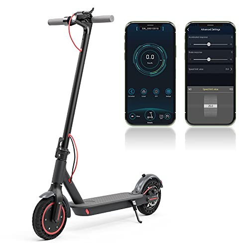Electric Scooter Adult, 350W Motor, 10.5Ah, Foldable E-Scooter with Bluetooth App Control, LCD Display, Black