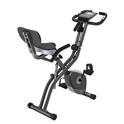 Folding Exercise Bike with 10-Level Adjustable Magnetic Resistance   Upright and Recumbent Foldable Stationary Bike is The Perfect Workout Bike for Home Use for Men, Women