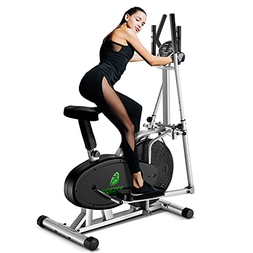 Neezee Elliptical Cross Trainer, Upgraded Cross Machine with LCD Monitor - 2 in 1 Exercise Bike Workout Machine Max Weight 265LBS, with Adjustable Magnetic Resistance, Fitness Cardio Workout