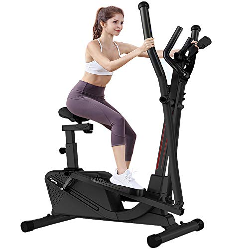 Dripex Elliptical Cross Trainer Machine (2021 New Version) - 2in1 Elliptical Exercise Machine with 8 Level Adjustable Magnetic Resistance, LCD Monitor and Tablet Holder, Perfect for the home gym