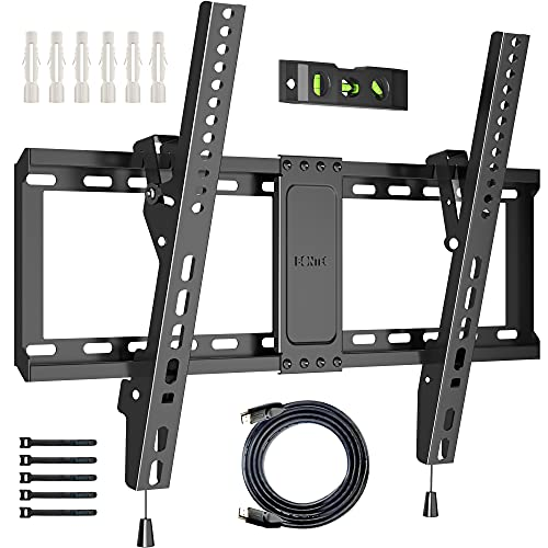 BONTEC TV Wall Mount for Most 37-82 Inch LED LCD Plasma Flat Curved TVs, Tilt TV Wall Bracket with Max. VESA 600x400mm, Up to 60kg, Bubble Level, 1.8m HDMI Cable and Cable Ties included