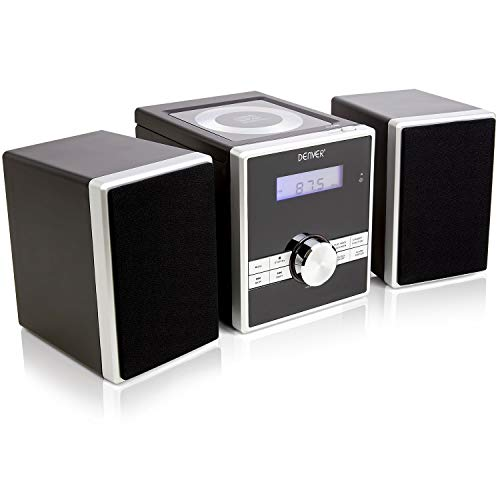 Denver MCA-230 Easy To Use Compact CD Player/Mini Stereo/Micro HiFi with Clock Radio Alarm, Snooze/Sleep Timers, AUX IN for MP3 Player/Smartphone/Tablet, Full Function Remote Control