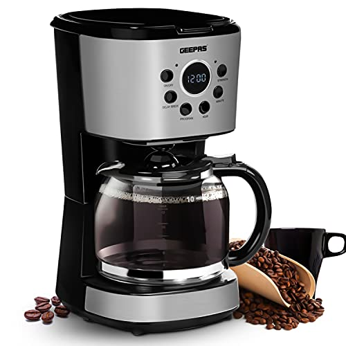 Geepas 1.5L Filter Coffee Machine | 900W Programmable Drip Coffee Maker for Instant Coffee Espresso Macchiato | 40min Keep Warm & Anti-Drip Function, Timer | Reusable Filter Fast Brewing Tea & Coffee