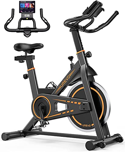 UREVO Kardio E1 Exercise Bike, 10kg Flywheel Indoor Cycling Bike for Home Use Workout with 260LBS Weight Capacity, Stationary Bikes for Fitness Gyms Training with Comfortable Seat Cushion