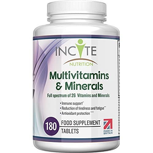 Multivitamins and Minerals | 180 Vegan Tablets | 26 Key Vitamins and Minerals for Women and Men | 6 Months Supply | Multivitamin Supplements 1 a Day Serving | Made in The UK by Incite Nutrition®