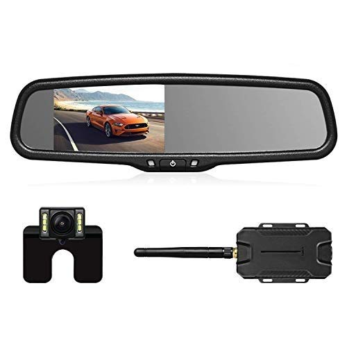 AUTO-VOX Wireless Reverse Camera Kit Car Backup Camera with Rear View Mirror Monitor and IP68 Waterproof Reversing Camera 6 LEDS Super Night Vision Back Up Car Camera Kit Easy Installation