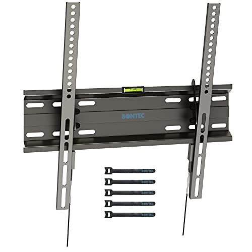 BONTEC Ultra Slim TV Wall Bracket Mount for 23'-55' LCD LED 3D Plasma TVs, Low Profile Tilt TV Wall Mount up to VESA 400x400mm, 45kg Weight Capacity with Spring Locking System, Includes 5 Cable Ties