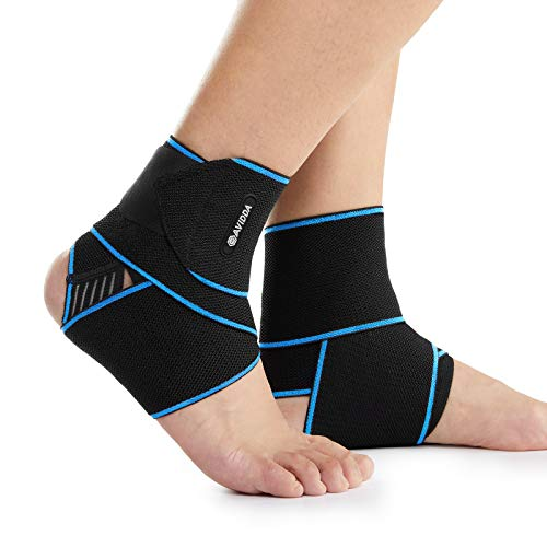 AVIDDA Ankle Supports 2 Pack - Adjustable Ankle Brace Compression Ankle Wrap Strap for Sprained Ankle, Achilles Tendon, Sports, Running