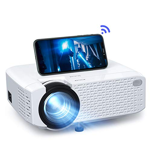 Crosstour Wi-Fi Projector, Mini Phone Projector, Wireless Home Cinema Supports Full HD, 30000 Hours LED Lamp, Compatible with Android/iPhone/PC/Tablet/USB/SD (HDMI/AV Cables Included)