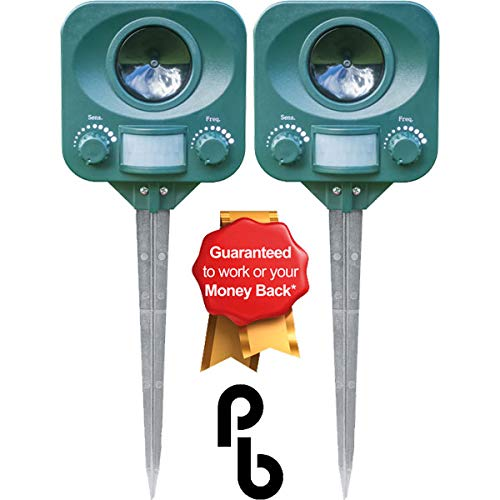Pestbye® Twinpack Solar Waterproof Cat Repellent - Quick Fix Ultrasonic Repeller Cat Scarer with Ground Stake