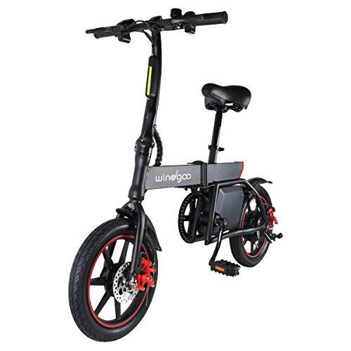 TOEU Electric Bike, Max Speed 25km/h, 14 inch Adult Bike, Urban Commuter Folding E-bike, Pedal Assist Bicycle, 36V/6Ah Rechargeable Li-ion Battery