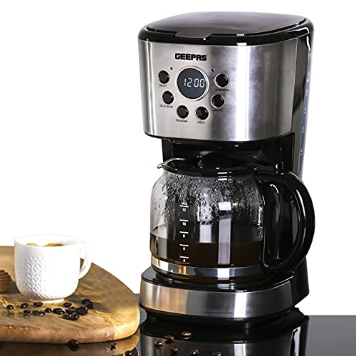 Geepas 1.5L Filter Coffee Machine   900W Coffee Maker for Instant Coffee, Espresso, Macchiato and More   Boil-Dry Protection, Anti-Drip Function, Automatic Turn-Off Feature (Digital) – 2 Year Warranty