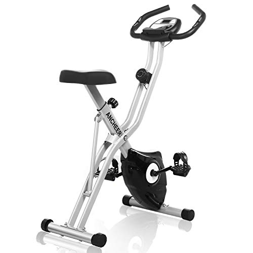 ANCHEER Exercise Folding Bike, Stationary Cycle Indoor Upright Bike, Compact Magnetic Recumbent Bike with 10-Level Resistance & App Program & Tablet Stand & Large and Comfortable Seat (Grey-APP Pro)