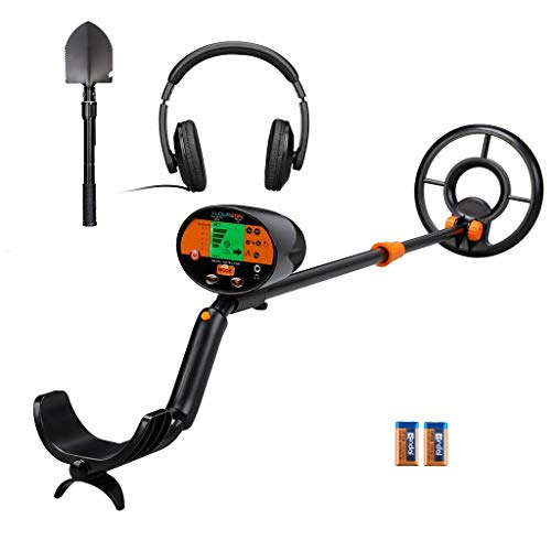 FLOUREON Metal Detector for Adults Kids, ALL METAL and Discrimination Modes Gold Detector,High Sensitivity Metal Finder with Headphone,Folding Shovel,Waterproof Coil(batteries include)