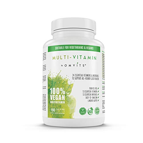 Vegan Multivitamins & Minerals with Vitamin B12, D3, K2, Iron, Magnesium, Folic Acid & More - 180 Tablets (6 Month Supply) - Perfect for Both Men & Women - Palm Oil Free - GMO Free
