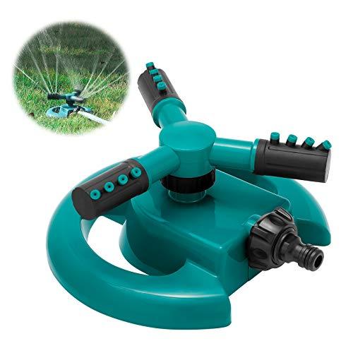 HTLY SPR Garden Sprinkler, Automatic Lawn Sprinkler 360 Degree Rotating 3 Arms Adjustable Water Sprinkler System Large Coverage for Garden Plants Lawn Watering Lawn Irrigation