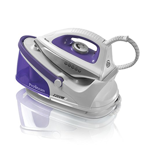 Swan ProSteam Steam Generator Iron with Non Stick Ceramic Soleplate and 100 g/min Continuous Steam, 2200 W, 1.5 Litre Removable Tank, Lightweight, Purple/White, SI11010N