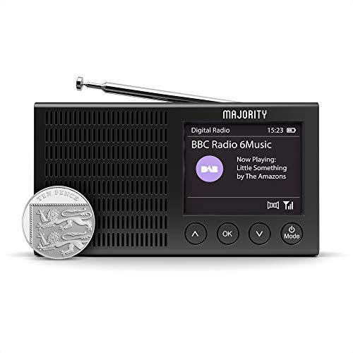 Majority Eddington Lightweight Rechargeable Portable Battery and Mains Powered DAB+ and FM Radio with Bluetooth
