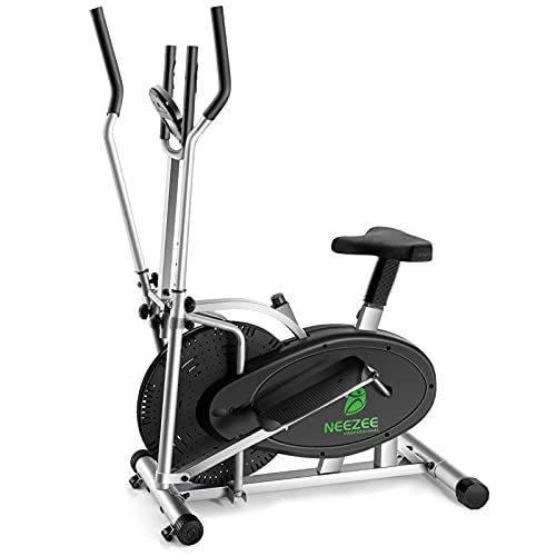 Neezee Cross Trainer - Upgraded 2 in 1 Elliptical Cross Trainer Machine Exercise Bike with Seat & Adjustable Magnetic Resistance & LCD Monitor Perfect Cross Trainer for Home Gym for Men/Women