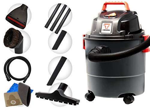 Caramba CAR Cleaner VAC 5.0 Wet-Dry Vacuum Cleaner Vacuum Cleaner with Blowing Function with 5 Nozzles - Perfectly Suited for Cleaning vehicles, Padded Seats Door Mats Boot Dry and Blow Off Heatless