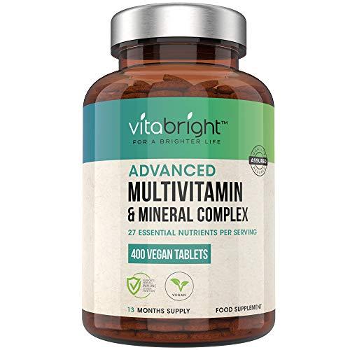 Multivitamins & Minerals - 400 Vegan Multivitamin Tablets - 1+ Year Supply - 27 Essential Active Vitamins & Minerals per Multivitamin Tablets for Men and Women - Made in The UK by VitaBright