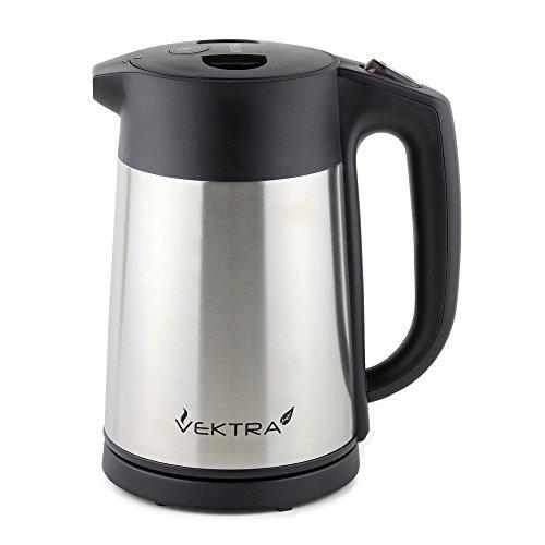 Vektra VEK-1506 Vacuum Insulated Enviromentally Eco Friendly Easy Pour Cordless Kettle, 1.5 Litre, Stainless Steel