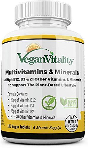 Vegan Vitality Multivitamins & Minerals with High Strength Vitamin B12, D3 & K2