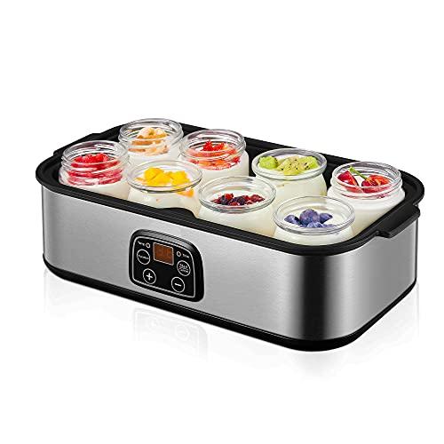 Yoghurt Maker, Yogurt Maker Machine 180ml x 8 Jars, with Adjustable Thermostat and Timer, LCD Display, Homemade Yogurt and Cheese Maker, Silver