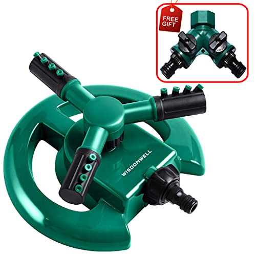 WISDOMWELL Wisdom Garden Sprinkler Automatic Lawn Water Sprinkler 360 Degree 3 Arm Rotating Sprinkler System for Watering Your Lawn Plants Flowers Veggies and More (1Sprinkler and double-pass)