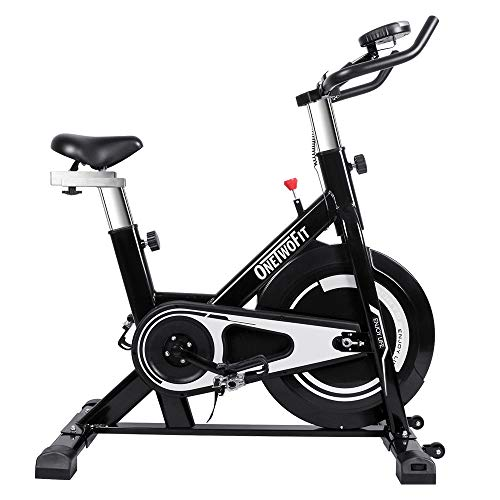 ONETWOFIT Indoor Exercise Bike with Monitor, Adjustable Seat & Handlebars Cycling Spinning Bike for Home Cardio Workout OT125T