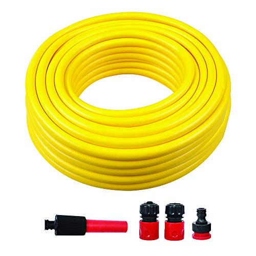 PVC Garden Fiber Braided Reinforced Water Hose Pipe | With Plastic 4 Spray Nozzle Set | Comfort Flexible Stretch Nylon Braided Expandable pipe For Irrigation, Car Wash, Gardening (30 Meter, Yellow)