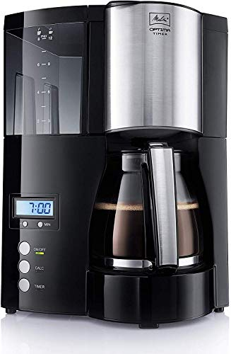 Melitta Filter Coffee Maker with Glass Pourer, Hot Hold and Timer Function, Optima Timer, Black, 100801