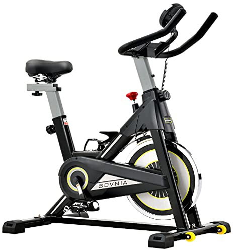 Exercise Bike, SOVNIA Stationary Bikes, Fitness Bike with iPad Holder, LCD Monitor and Comfortable Seat Cushion, Whisper Quiet Indoor Cycling Bikes Perfect for Home Gym Workout (Black)