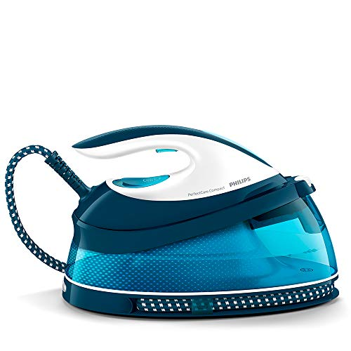 Philips PerfectCare Compact Steam Generator Iron with 400g steam Boost, 2400 W, Blue & White - GC7840/26